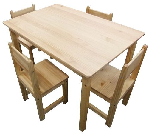 Childrens Table 6 Chairs Rectangle Kids Natural Wood