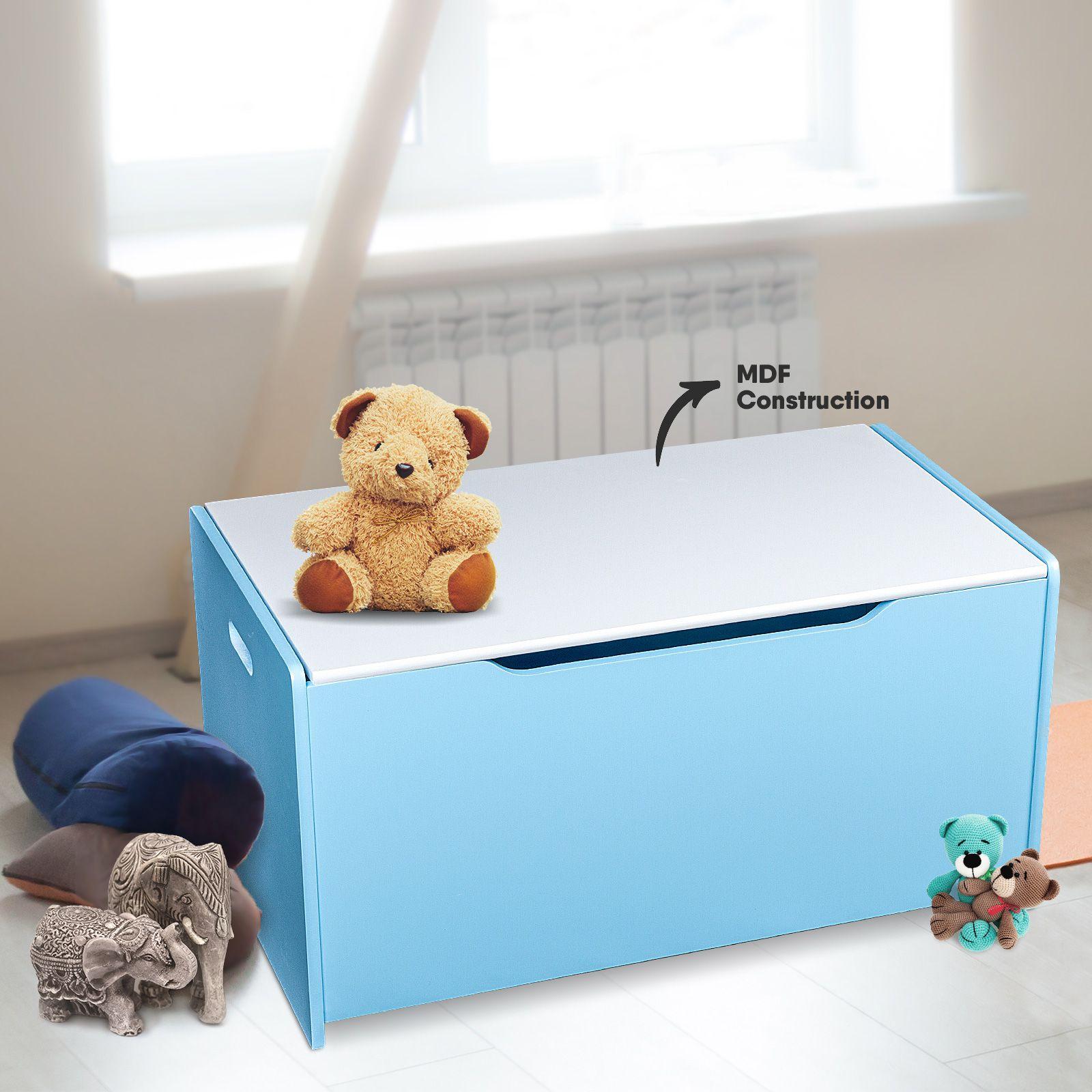 Children S Toy Box Light Blue Kids Wooden Plain Wooden