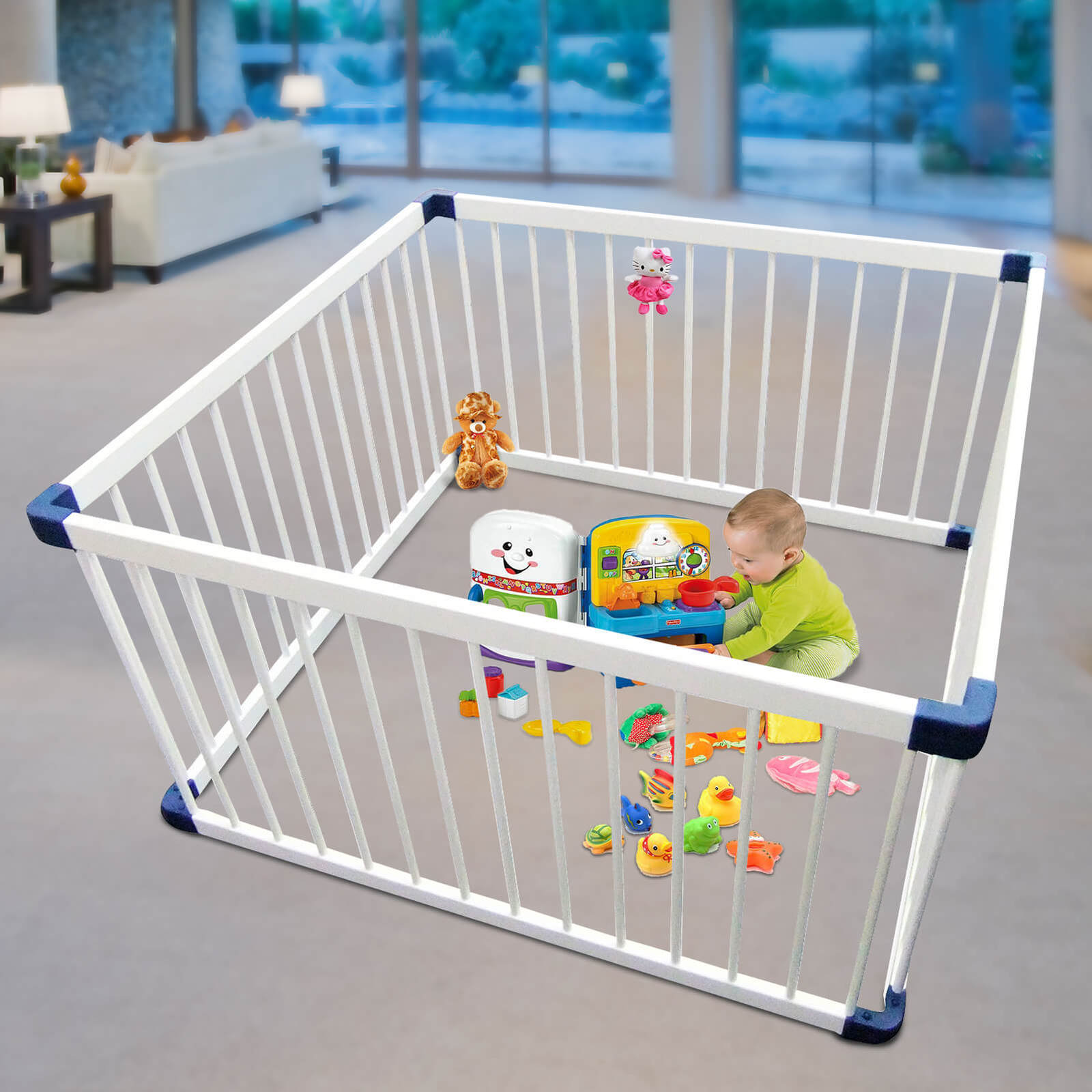 white wooden square playpen  child toddler play pen  nanny annie -
