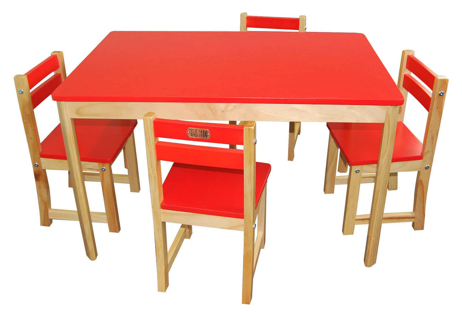 childrens play table 4 chairs set rectangle red kids wood furniture ebay. Black Bedroom Furniture Sets. Home Design Ideas
