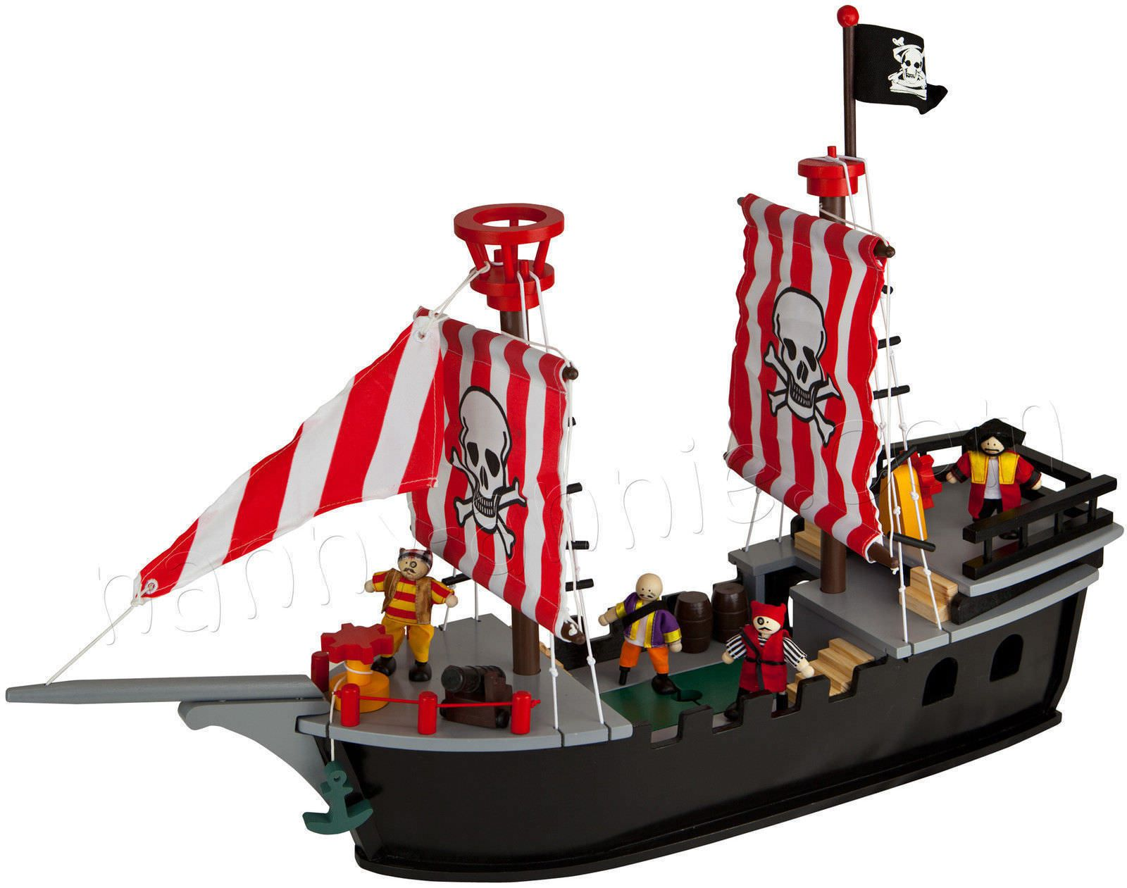 kids wooden painted pirate ship play set includes dolls and