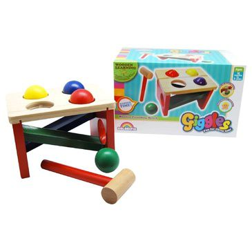 Kids Hammer and Ball Toy Giggles Wooden Pounding Bench Timber Childrens Toy
