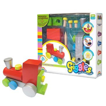 Kid's Wooden Toy Giggles Build a Train Childrens Toy
