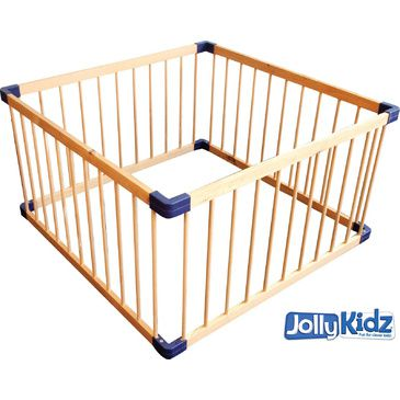 Jolly KidZ Smart Playpen - Square Natural | Wooden Playpen | Plain Playpen