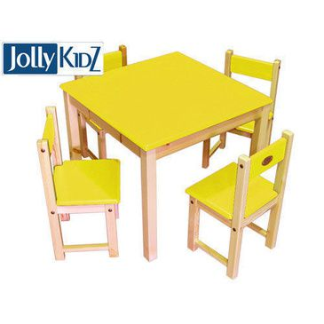 Jolly KidZ 'Brightway' Yellow Children's Table and Chairs Furniture Set (4 Chairs)