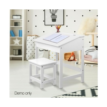 Nu Oxford Kid's Lift-Top Desk and Stool - White