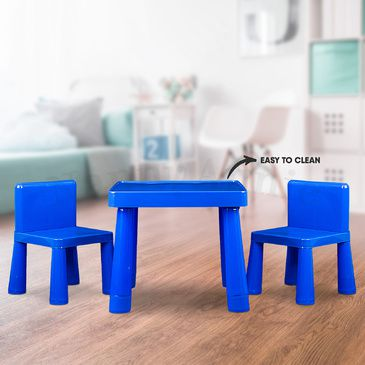 Kids Table & Chair Play Furniture Set Plastic Fountain Activity Dining Chairs
