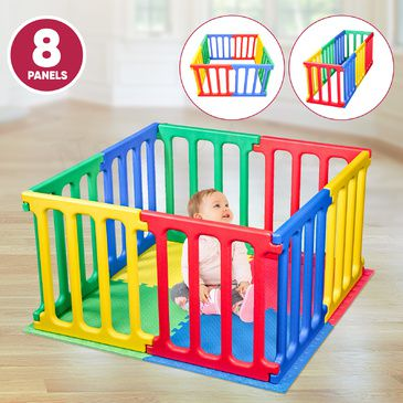 Happy Panel Plastic Playpen and EVA Mat | Square Kids Playpen 1.1m x 1.1m