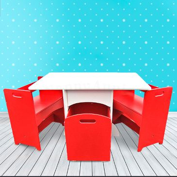 Kids Table and Chair Set - Red Box Table and 2 Chairs
