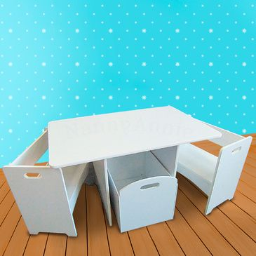 Kids Table and Chair Set - White Box Table and 2 Chairs