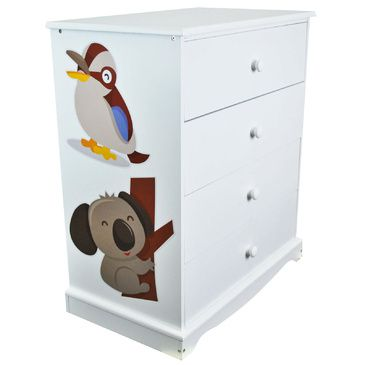 Childrens White Chest of Drawers | Australian Animals | 4 Drawer Chest
