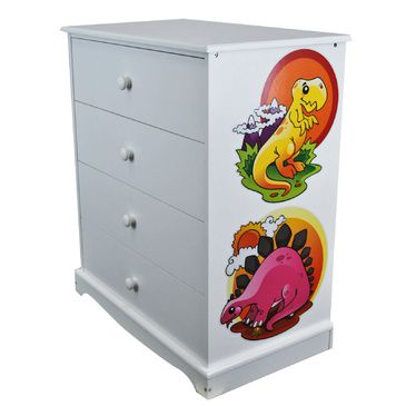 Childrens White Chest of Drawers | Dinosaurs | Wooden 4 Drawer Chest