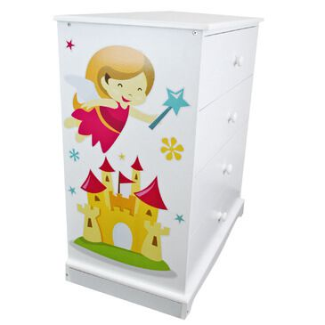 Childrens White Chest of Drawers |Fairy Princess | Wooden 4 Drawer Chest