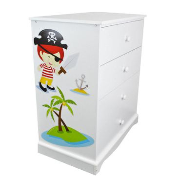 Childrens White Chest of Drawers |Pirates | Wooden 4 Drawer Chest