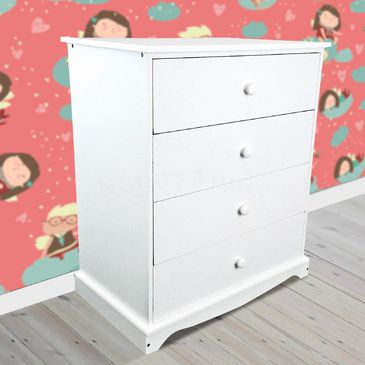 Childrens White Chest of Drawers | Wooden 4 Drawer Chest