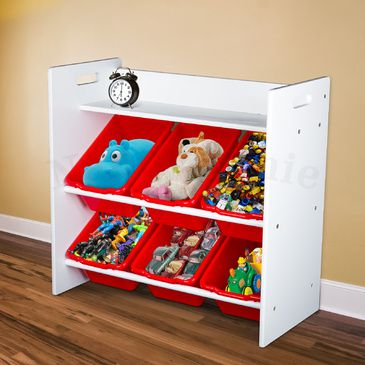 Kids 2-Tier Storage Shelves Unit with 6 Storage Tubs