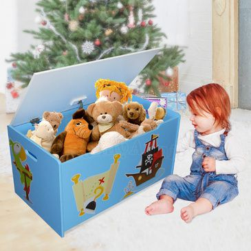 Children's Toy Box - Pirates | Light Blue | Wooden Toybox