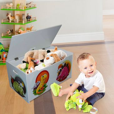 Children's Toy Box - Dinosaurs | White | Wooden Toybox