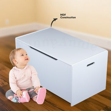 Children's Toy Box - White | Kids Wooden Plain Wooden Toybox in White