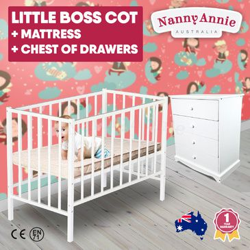 Childrens White Chest of Drawers, Little BOSS Cot