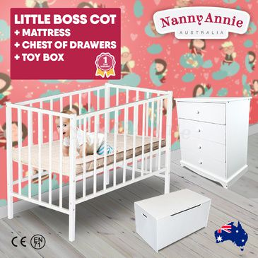 Childrens White Chest of Drawers, Little BOSS Cot, Children's Toy Box