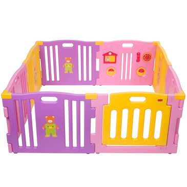 Baby Playpen - Pink 8pc with Gate