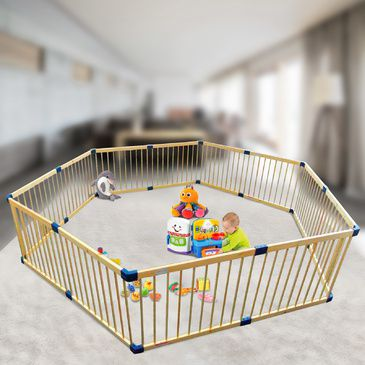 Giant Hexagonal Playpen in Natural Wood | 2 Playpens in 1