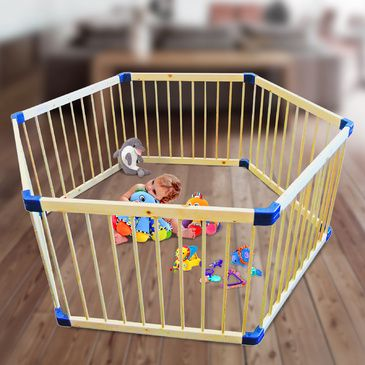 Wooden Hexagon Playpen | Child Toddler Play Pen in Natural Timber