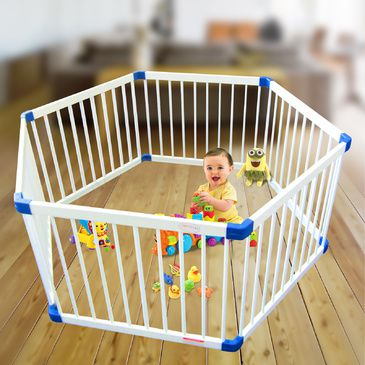 White Wooden Hexagon Playpen | Child Toddler Play Pen