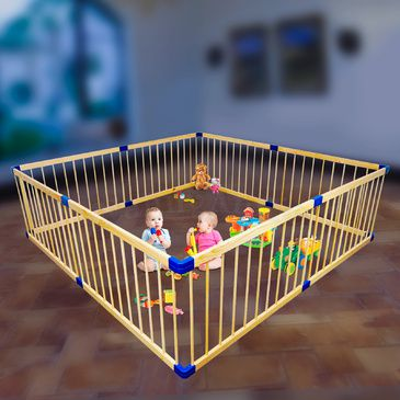 Giant Wooden Square Playpen | Baby Toddler Play Pen