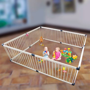 Giant White Wooden Square Playpen | Baby Toddler Play Pen