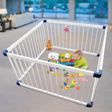White Wooden Square Playpen | Child Toddler Play Pen