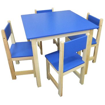 Jay Wooden Square Table + 4 Chairs Set- BLUE
