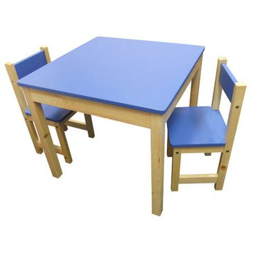 Jay Wooden Square Table + 2 Chairs Set- BLUE