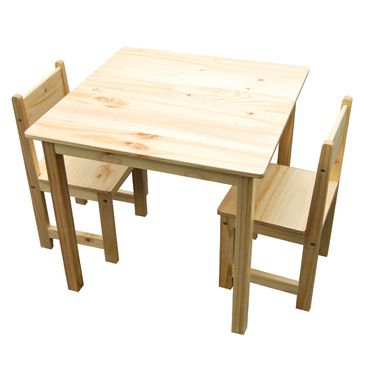 Sophia Solid Timber Wood Square Table & 2 Chairs Set - Natural