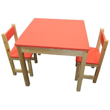 Wooden Square Table + 2 Chairs Set- RED