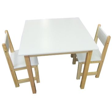 Wooden Square Table + 2 Chairs Set- WHITE