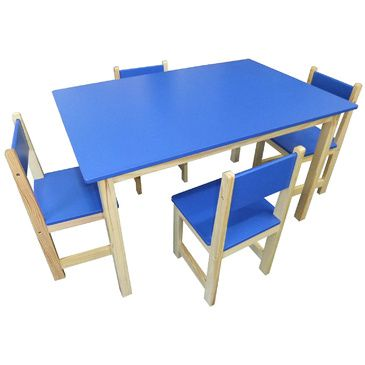 Jay Wooden Rectangle Table + 4 Chairs Set- BLUE