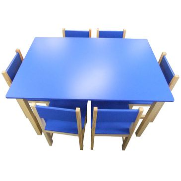 Jay Wooden Rectangle Table + 6 Chairs Set- BLUE