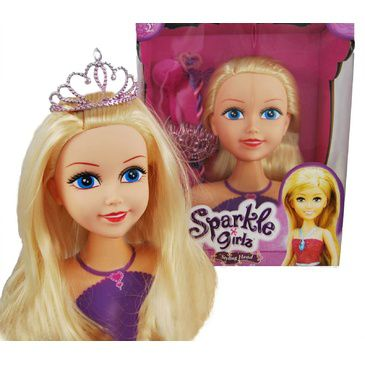 Girls Hair Styling Makeup Head | Sparkle Girlz Styling Head