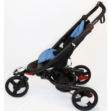 Baby Zen Stroller With Black Chassis and Blue Seat Pad