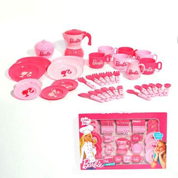 Barbie I can be a Chef 40pce Tea Set | Pink Barbie Tea Set