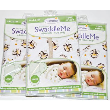 "SwaddleMe Bundle of 3 Swaddles - Large Monkey Business"" Cotton Swaddle"""