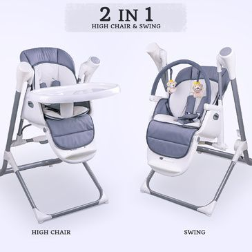 Star Kidz Feathertop 2 in 1 Swing High Chair - Grey