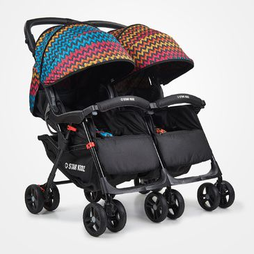 Star Kidz Lusso Double/Twin Pram Stroller - Black Zigzags