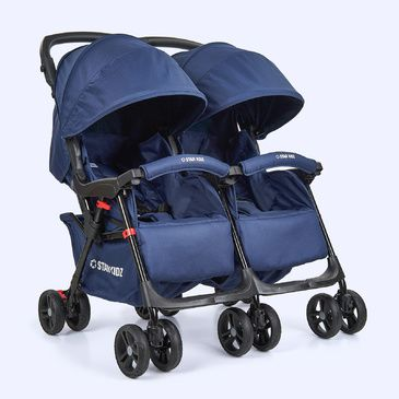 Star Kidz Lusso Double/Twin Pram Stroller - Navy