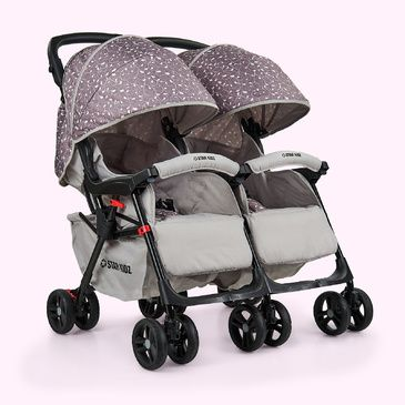 Star Kidz Lusso Double/Twin Pram Stroller - Silver Leaves