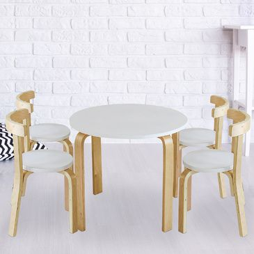 Nu Hyams Table & 4 Chairs Set -  White