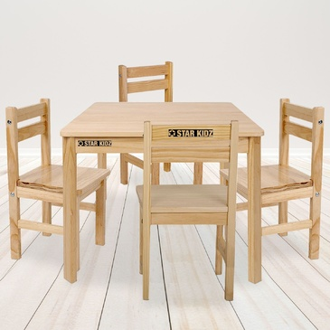 Nu Elwood Square Table & 4 Chairs Set -  Natural