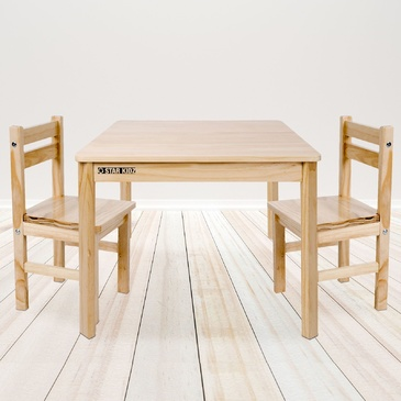 Nu Elwood Square Table & 2 Chairs Set -  Natural